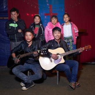 Portrait of a Hmong church band.